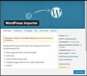 Instalasi tools import wordpress